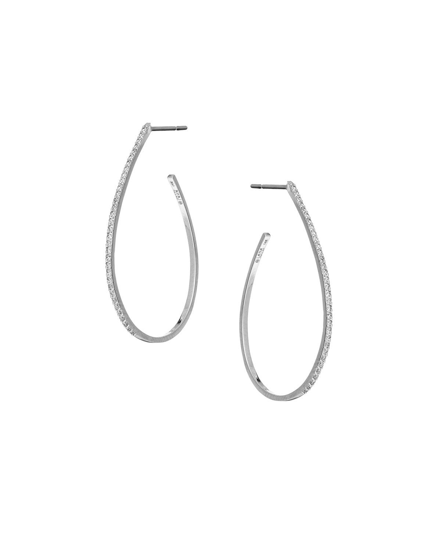 Flawless Small Diamond Teardrop Hoop Earrings In 14k White Gold