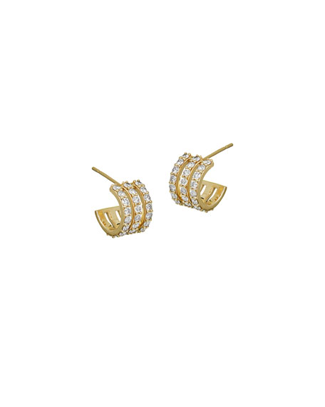 LANA Flawless Three-Row Huggie Hoop Earrings with Diamonds