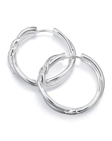 David Yurman 21mm Continuance 18K White Gold Hoop Earrings with Diamonds