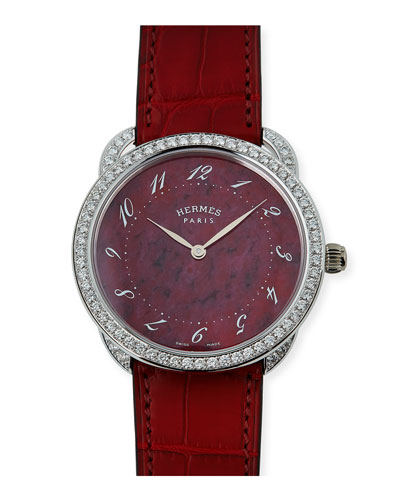 41mm Arceau Alligator Strap Watch with Diamonds