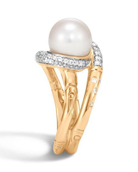 John Hardy Bamboo Pearl 18K Gold Ring with Diamonds, Size 7