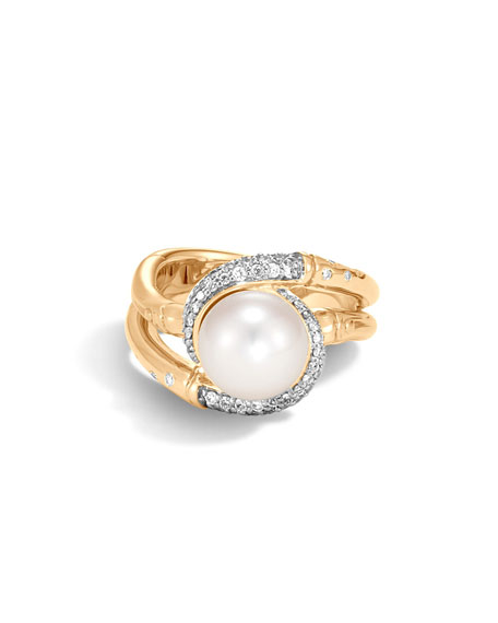 John Hardy Bamboo Pearl 18K Gold Ring with Diamonds, Size 8