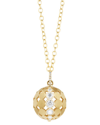 Disco Dots Ball Pendant Necklace with Diamonds