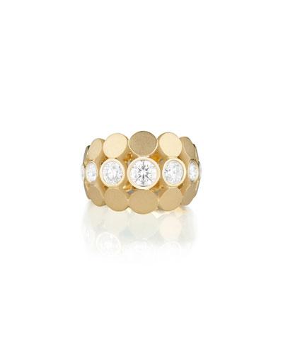 Disco Dots Diamond Bezel Ring in 18K Gold  Size 6.5