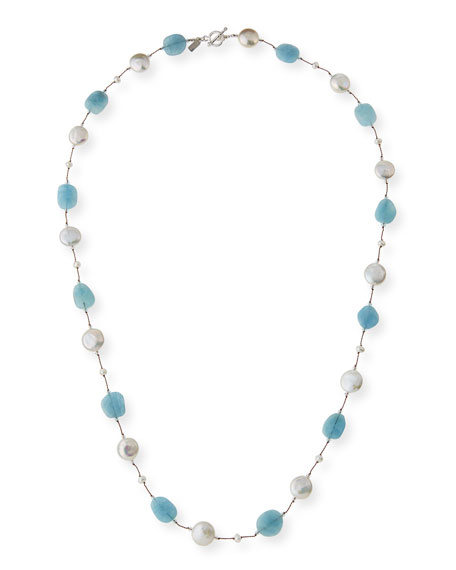 Long Aquamarine, Pearl & Crystal Station Necklace