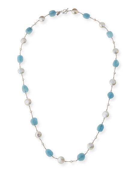 Long Aquamarine, Pearl & Crystal Station Necklace