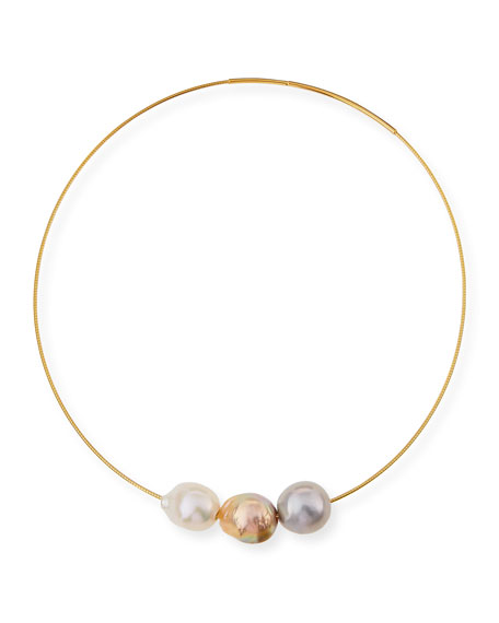 Triple Baroque Pearl Choker Necklace