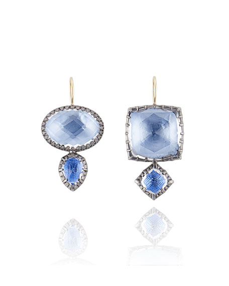 Larkspur & Hawk Sadie Double-Drop Earrings in Azure Foil