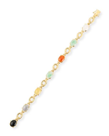 David C.A. Lin Multicolor Jade Cabochon Bracelet
