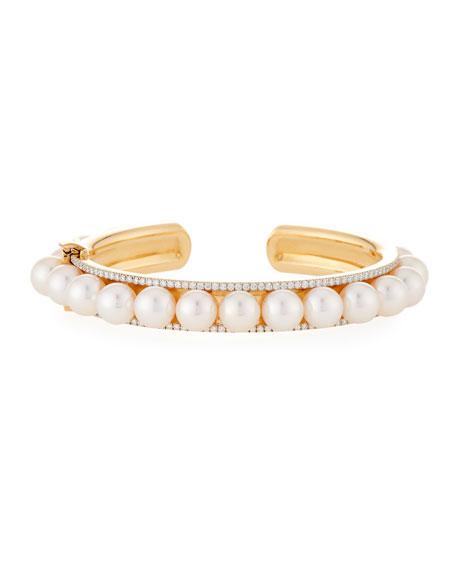 Assael Akoya Pearl & Diamond Rail Bracelet