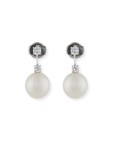 Assael Double Diamond & Pearl Drop Earrings