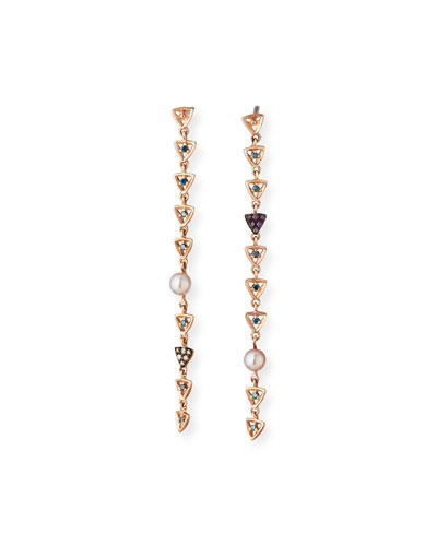 Misfit Rose Gold Pearl & Diamond Triangle Dangle Earrings