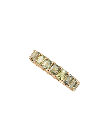 14k Prong-Set Fancy Baguette Eternity Ring with Green Sapphire, Size 7