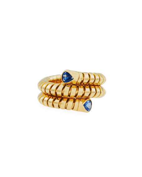 Trisola 18k Yellow Gold Sapphire Coil Ring, Size 7