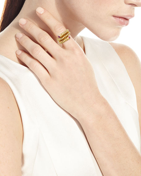 Trisola 18k Yellow Gold Ruby Coil Ring, Size 6.5