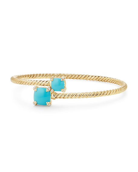 David Yurman Châtelaine 14k Turquoise Bypass Bracelet, Size M