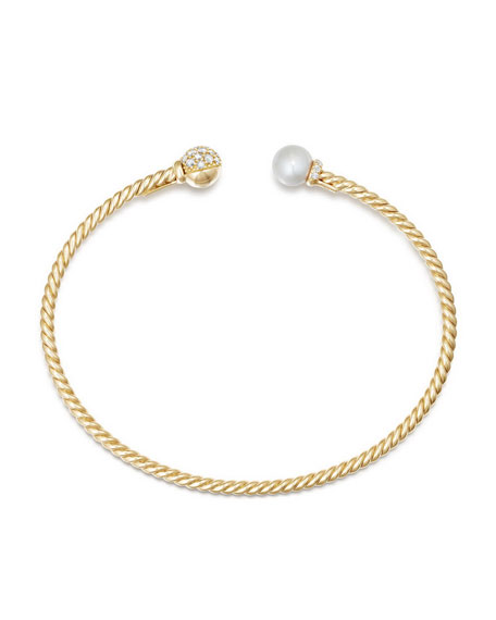 David Yurman Solari Pearl & Diamond Bracelet, Size L
