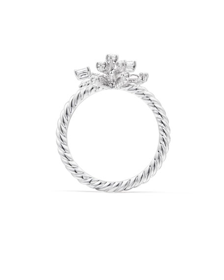 Image 4 of 4: David Yurman 14mm Supernova 18K White Gold Ring with Diamonds, Size 6