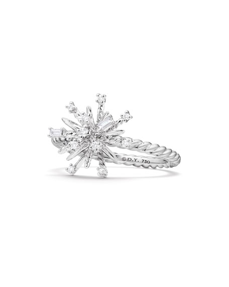 Image 1 of 4: David Yurman 14mm Supernova 18K White Gold Ring with Diamonds, Size 6
