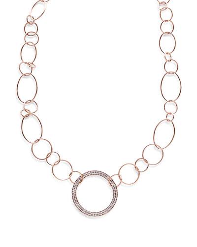 Stardust 18k Rose Gold Pave Diamond Hollow-Pendant Wavy Chain Necklace