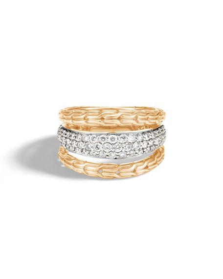 John Hardy Classic Chain 18k Pave Diamond Ring, Size 7