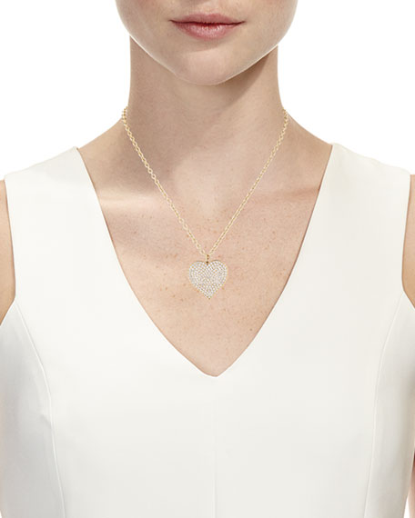 Sydney Evan Supersize Pave Diamond Heart Pendant Necklace, 18""