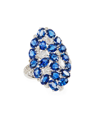 Mosaic Blue Sapphire & Diamond Shield Ring  Size 7
