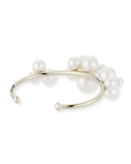 Bubbles South Sea and Akoya Pearl Cluster Bangle Bracelet, Size 5.5