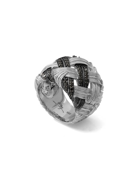 Michael Aram Palm Woven Band Ring with Black Diamonds