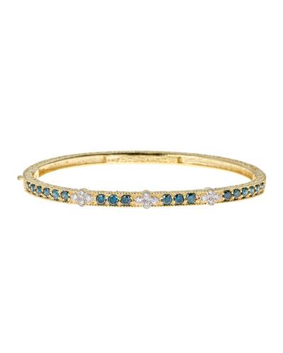 Modern Etruscan Blue & White Diamond Bangle Bracelet