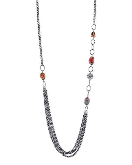 Sheryl Lowe Tourmaline Curb-Chain Draped Necklace, 40