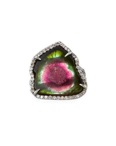 Watermelon Tourmaline Ring, Size 7.5
