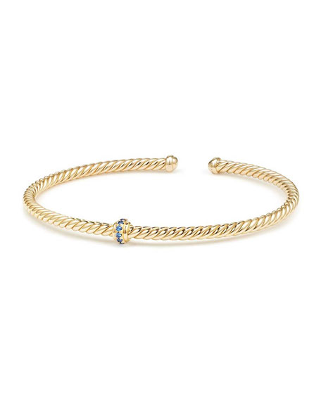 Cablespira 18k Gold Flex Bracelet with Sapphire Center Station, Size M