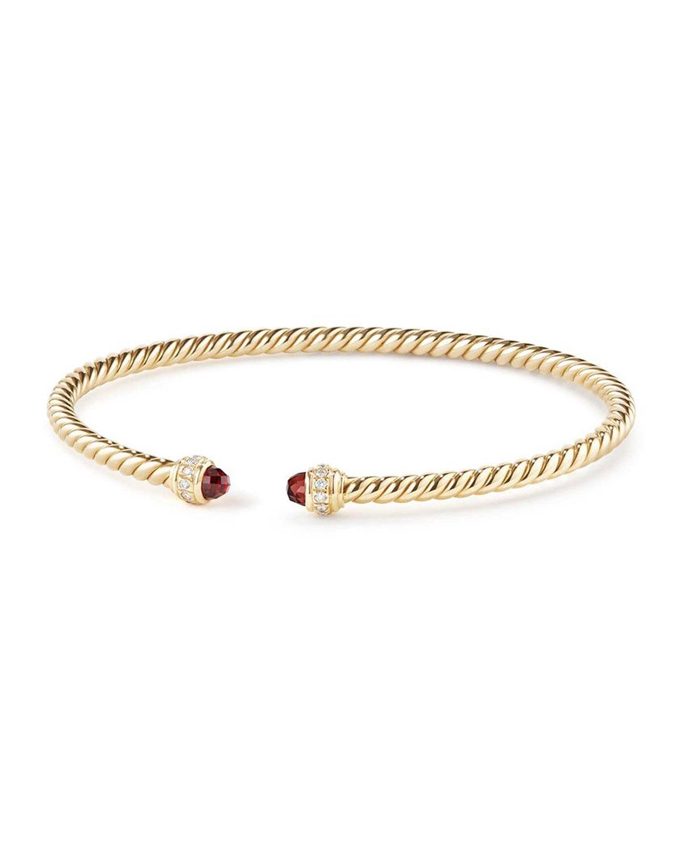 18k Gold Cablespira Bracelet W Garnet Size M