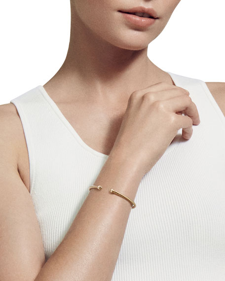 18k Gold Petite CableSpira® Bracelet w/ Diamonds, Size M