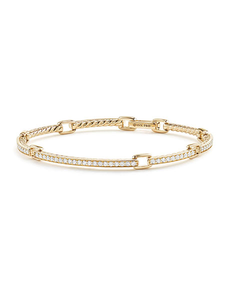 David Yurman Petite Pave Diamond Link Bracelet in 18k Yellow Gold, Size Medium