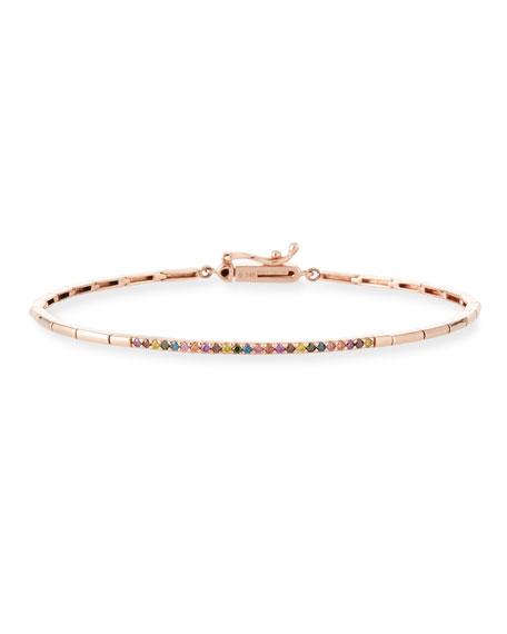 Stevie Wren 14k Gold Geometric Rainbow Diamond Bangle Bracelet