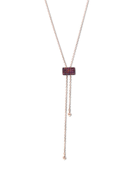 Pink Diamond Lariat Necklace in 14K Rose Gold