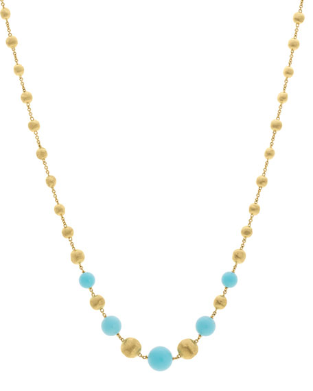 18k Africa Short Turquoise Beaded Necklace and Matching
