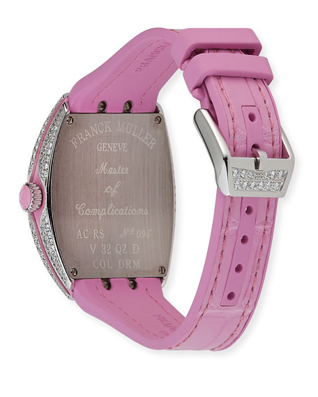 Franck Muller Lady Vanguard Color Dreams Diamond Watch w/ Alligator Strap, Pink
