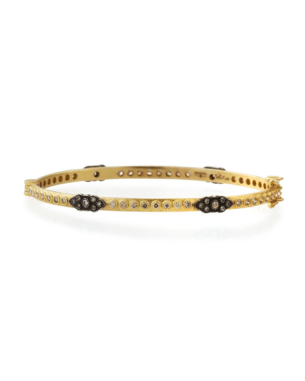 ec9762704eb8d Old World 18k Gold Hinged Diamond Huggie Bangle Bracelet