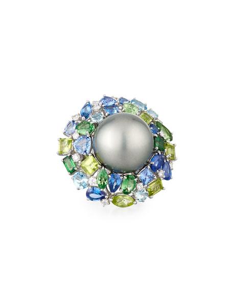 18k Winter Blush Pearl & Mixed Stone Ring, Size 6.5