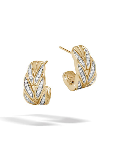 18k Modern Chain Diamond Pavé J-Hoop Earrings