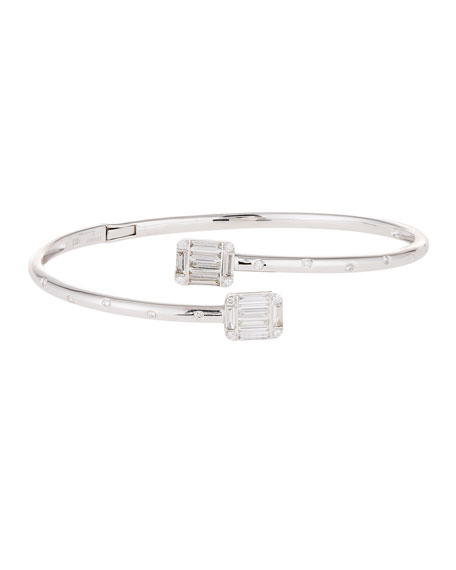 Diamond Bypass Bracelet in 18k White Gold