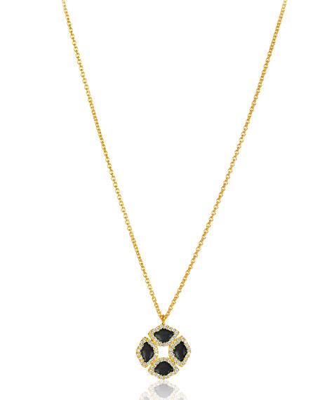 18k Mini Manjari Lotus Enamel Pendant Necklace