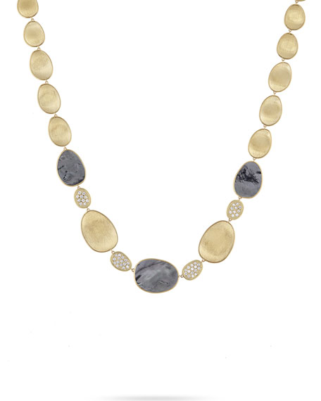 18k Lunaria Mother-of-Pearl & Diamond Necklace and Matching