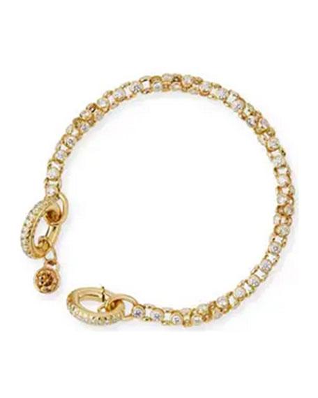 18K Yellow Gold Diamond Watch Bracelet with Cognac Diamond Toggle