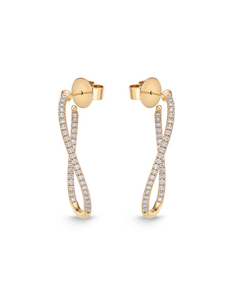 18KYG Small Diamond Pave Twist Hoop Earrings