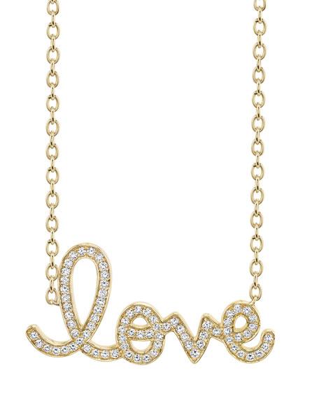 Sydney Evan XL Diamond Love Necklace in 14K Yellow Gold