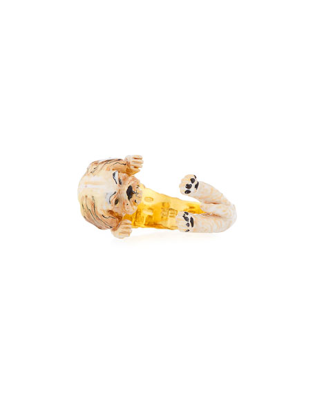 Shih Tzu Plated Enamel Dog Hug Ring, Size 6